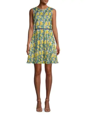 Draper James Embroidered Fit-&-flare Dress In Vibrant Yellow