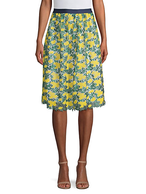 Draper James Embroidered Floral A-line Skirt In Vibrant Yellow