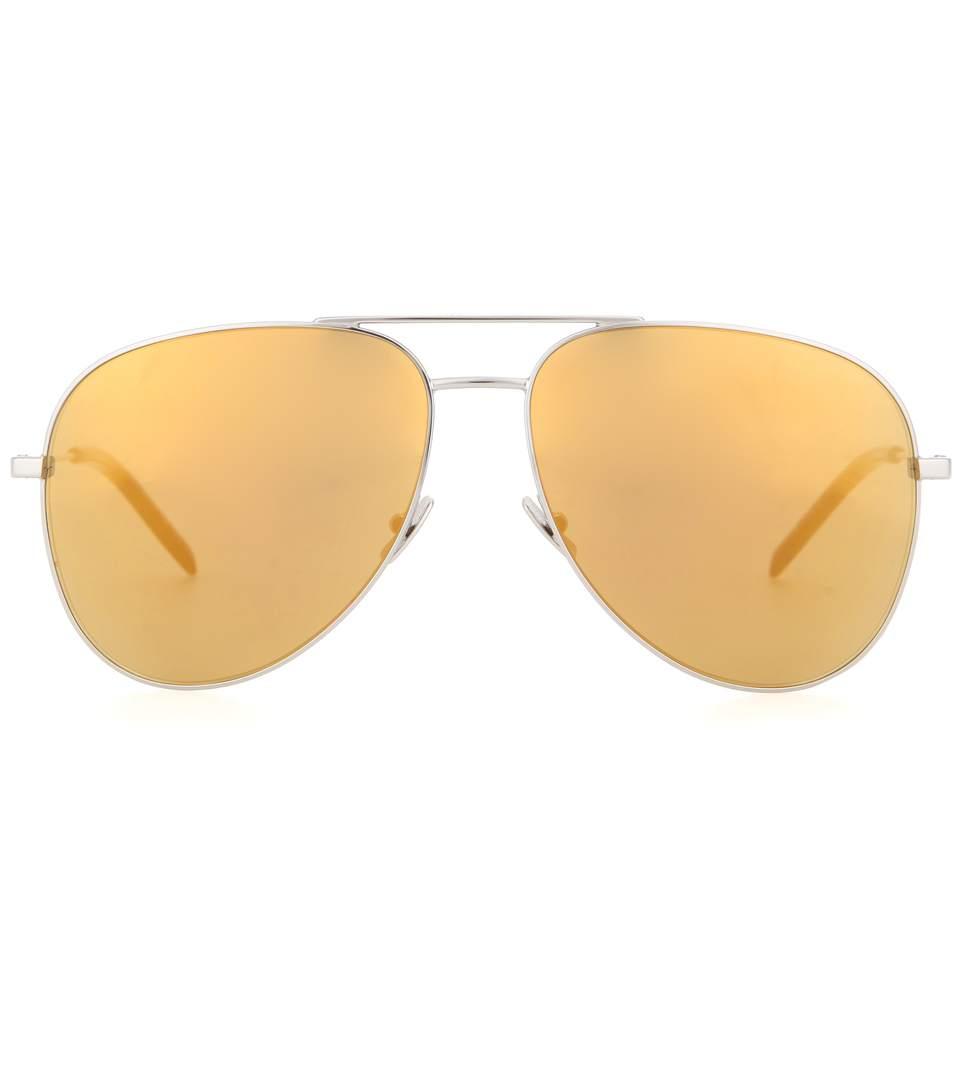 b0fc18efcbe Saint Laurent Women'S Classic 11 Surf Reflective Aviator Sunglasses In  Yellow