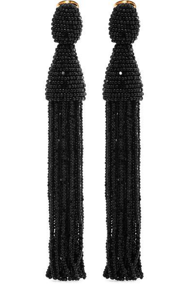 Oscar De La Renta Beaded Long Tassel Clip Earrings In Ivory