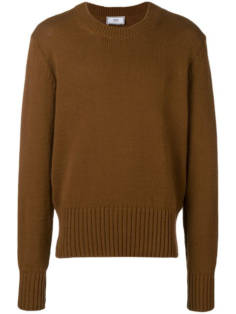 Ami Alexandre Mattiussi Crewneck Sweater In Brown