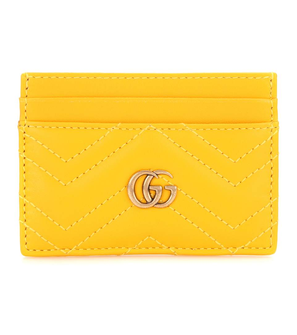 e7b5f25bd129bc Gucci Gg Marmont Quilted Leather Cardholder In Stoee Topaz   ModeSens
