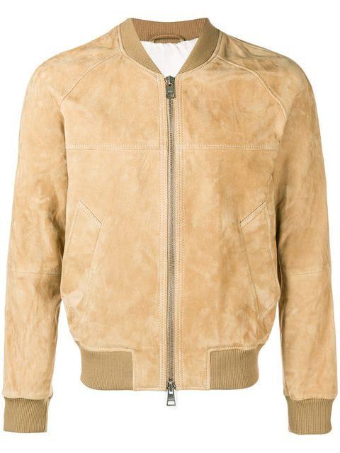 Ami Alexandre Mattiussi Zipped Suede Jacket In 250 Beige