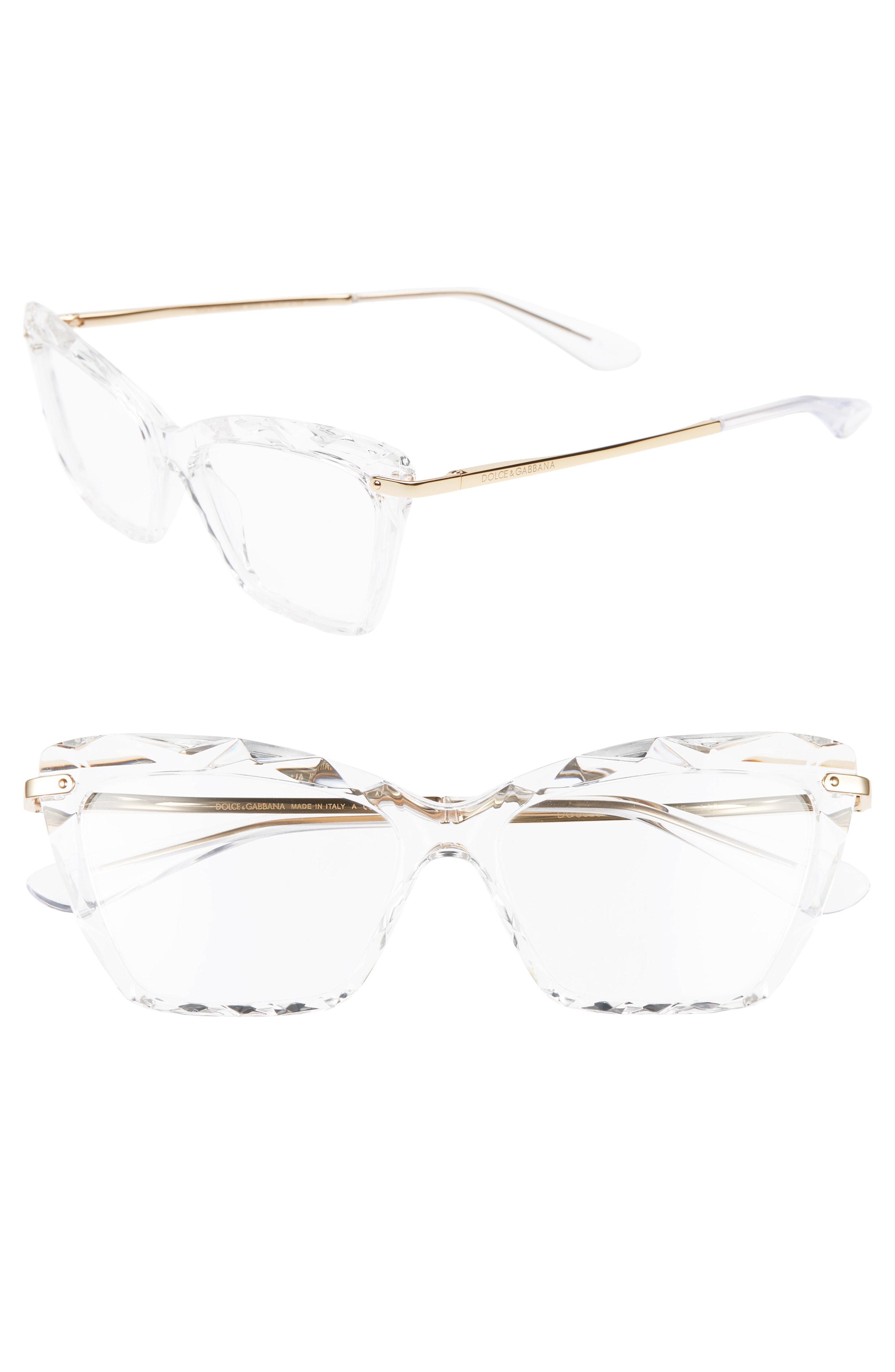 a959a601b3e16 Dolce   Gabbana 53Mm Cat Eye Optical Glasses - Crystal  Gold