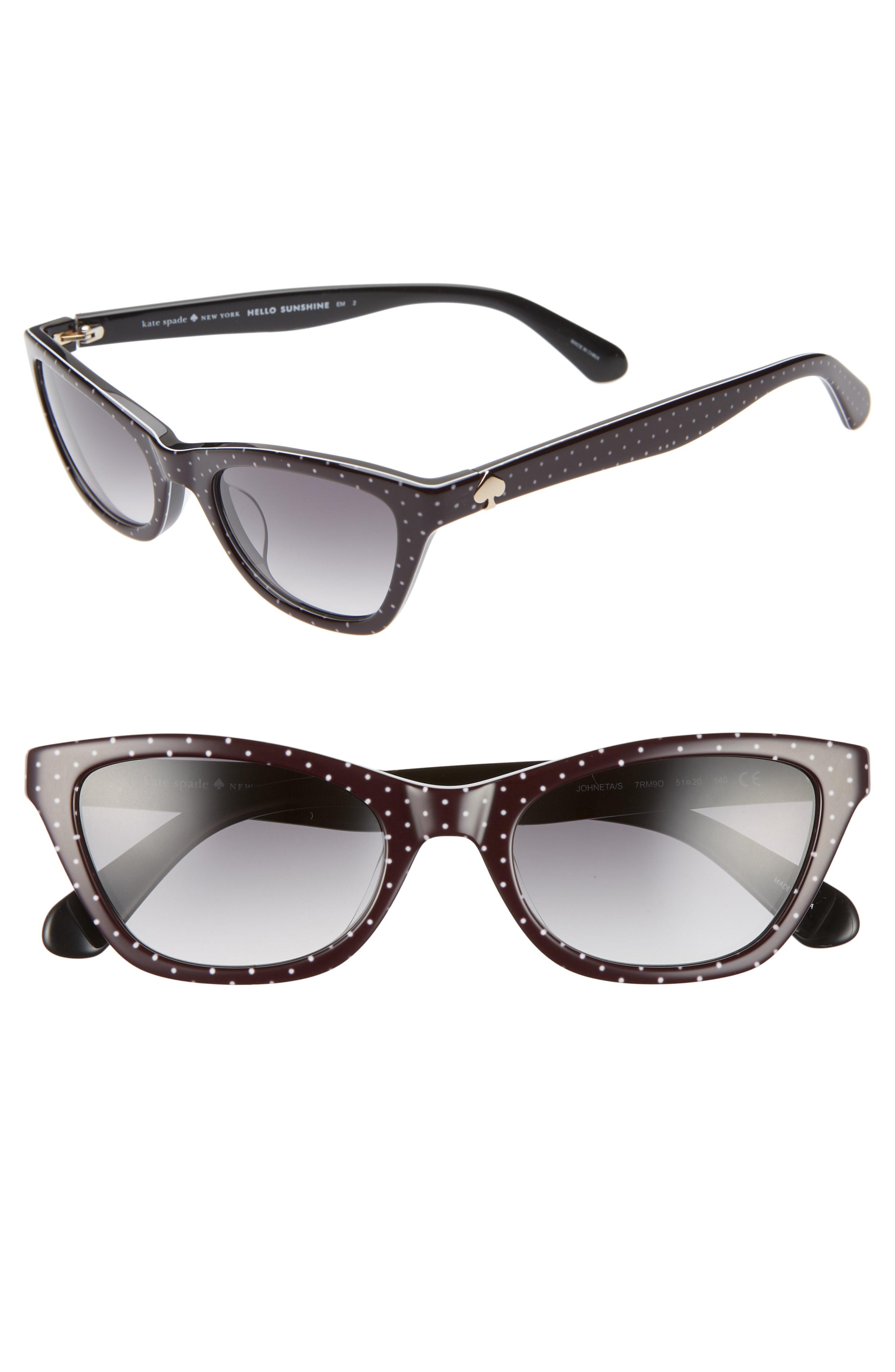 81861539028 Kate Spade Johneta 51Mm Cat Eye Sunglasses - Black  Gold