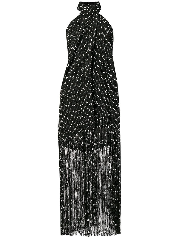 9e8f50268d7ff4 Jacquemus Cortese Fringed BouclÉ Halterneck Maxi Dress In Black ...