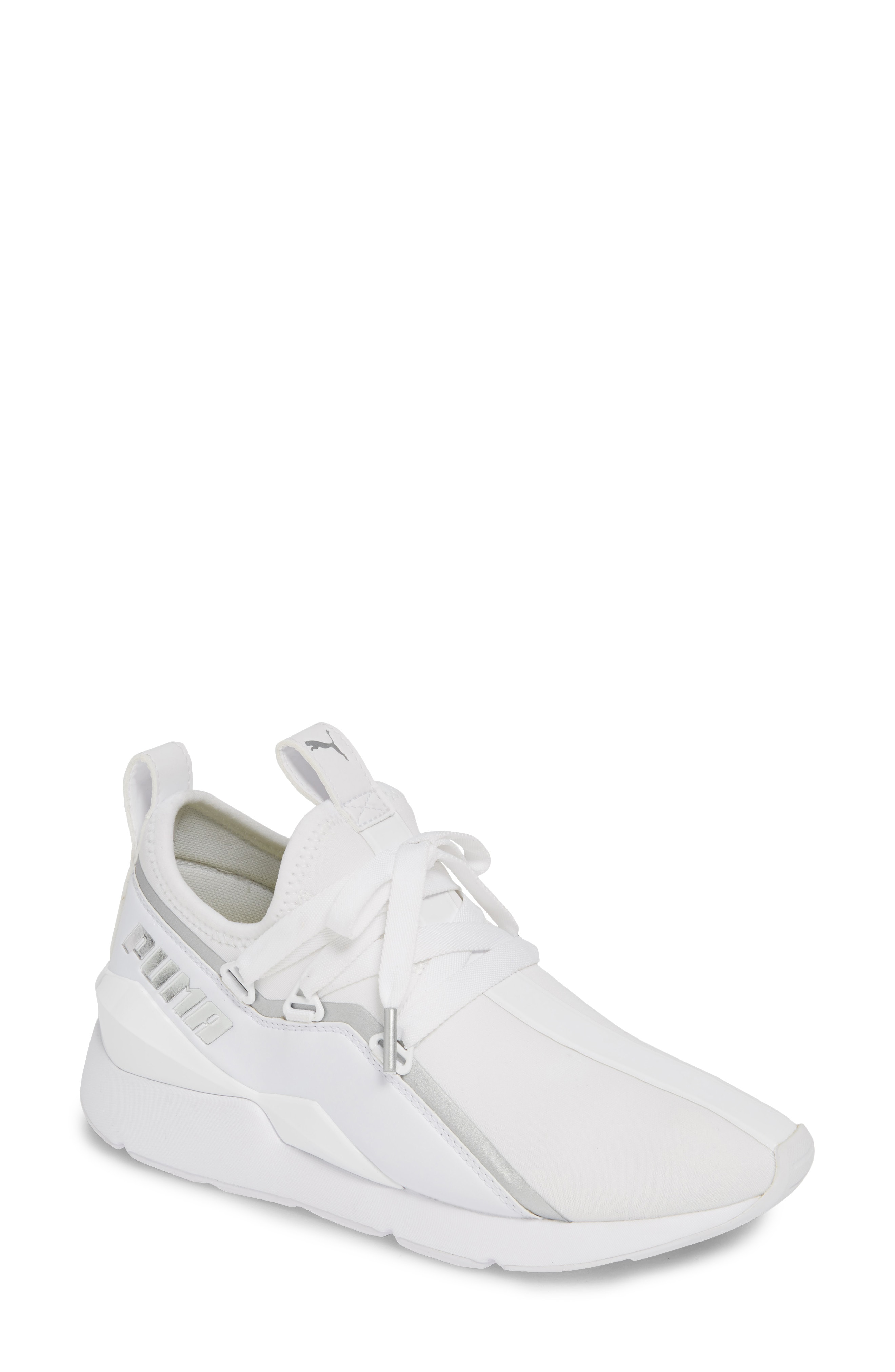 21f119b0d25 Angled overlays and a ridged heel cup bring new geometries to PUMA s  next-generation Muse sneaker that sports a broad lacing system and more  streamlined ...