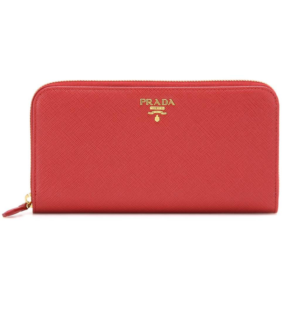 Prada Textured-leather Continental Wallet In Fuoco