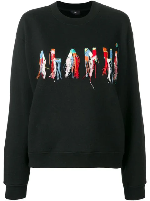 Alanui Black Sweatshirt With Logo In Blackmulti
