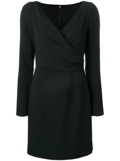 Dolce & Gabbana Long Sleeve Wrap Mini Dress In N0000 Black