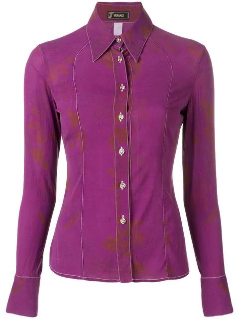 Versace 2000's Slim-fit Shirt In Purple