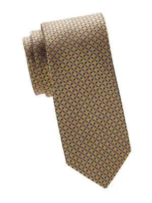 Canali Graphic Silk Tie In Yellow
