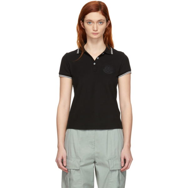 Moncler Contrast-trim Logo Polo Shirt In 999 Black
