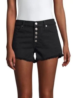 7 For All Mankind Cut-Off Denim Shorts In Pitch Black 2