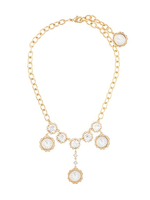 Dolce & Gabbana Crystal-embellished Necklace In Metallic