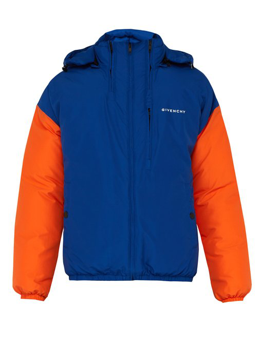Givenchy Panelled Padded Jacket In Blue