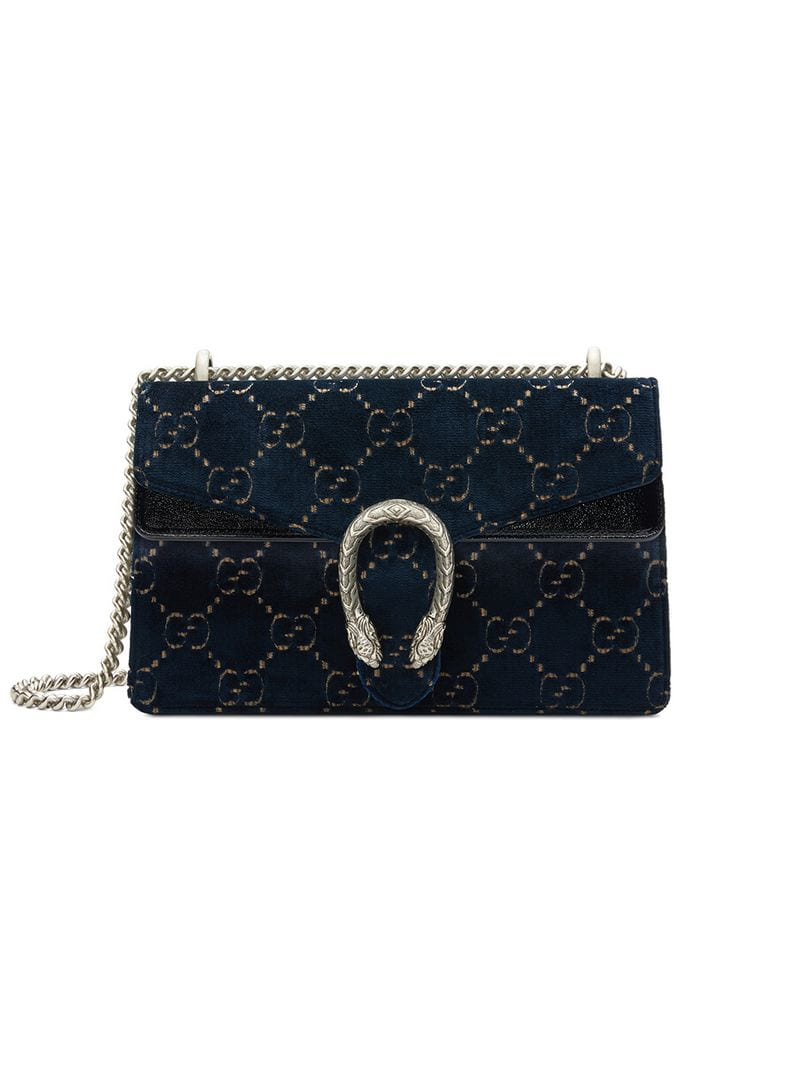 3cbb9a8cca20 Gucci Dionysus Gg Velvet Small Shoulder Bag - Farfetch In Black ...