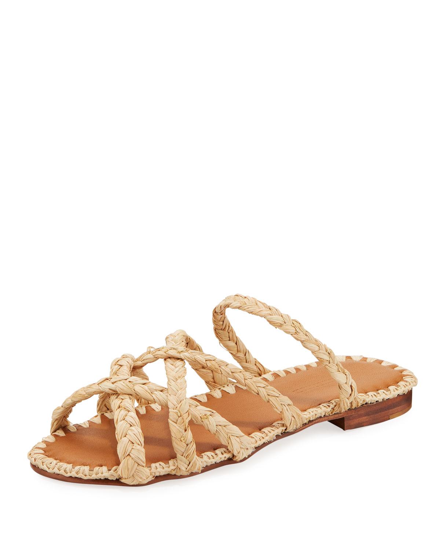 534989aa718e Carrie Forbes Noura Braided Raffia Slide Sandals In Beige