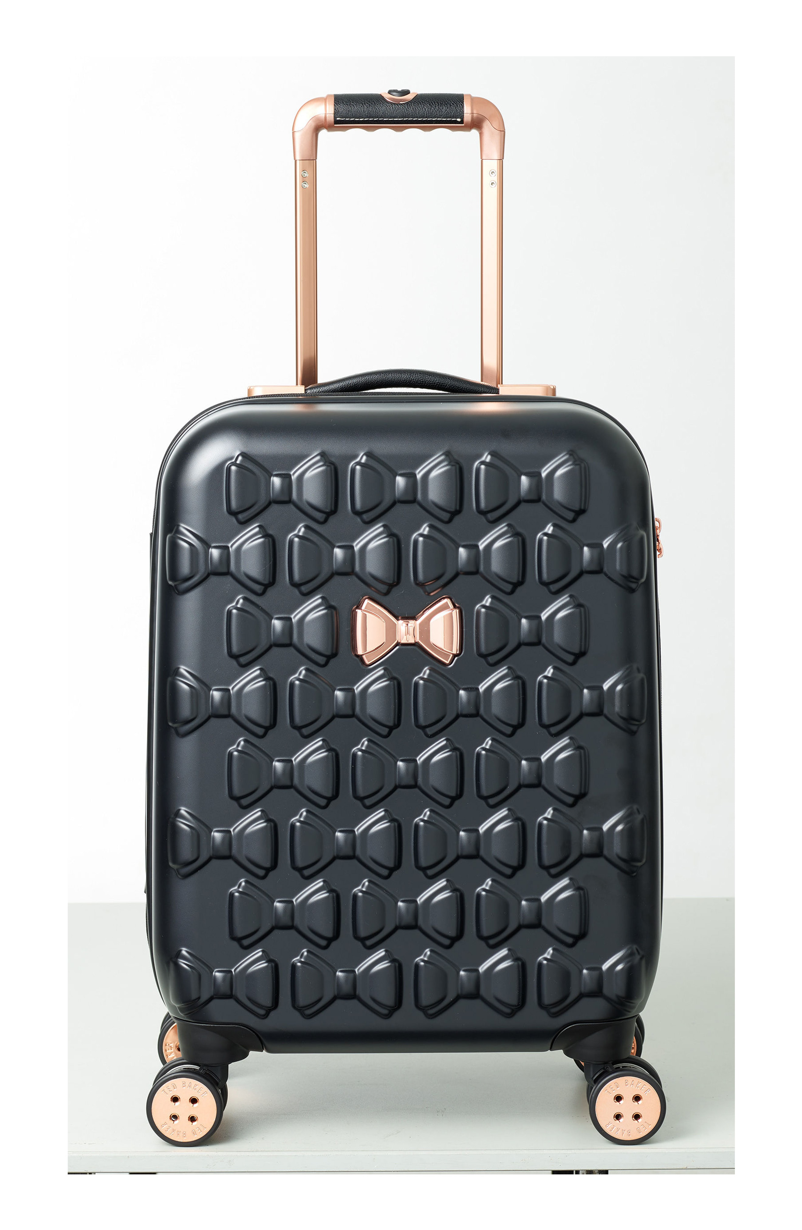 d1ddcdd502e6f1 Ted Baker Small Beau 22-Inch Bow Embossed Four-Wheel Trolley Suitcase -  Black