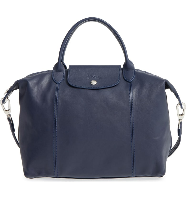 Medium 'le Pliage Cuir' Leather Top Handle Tote - Blue In New Navy