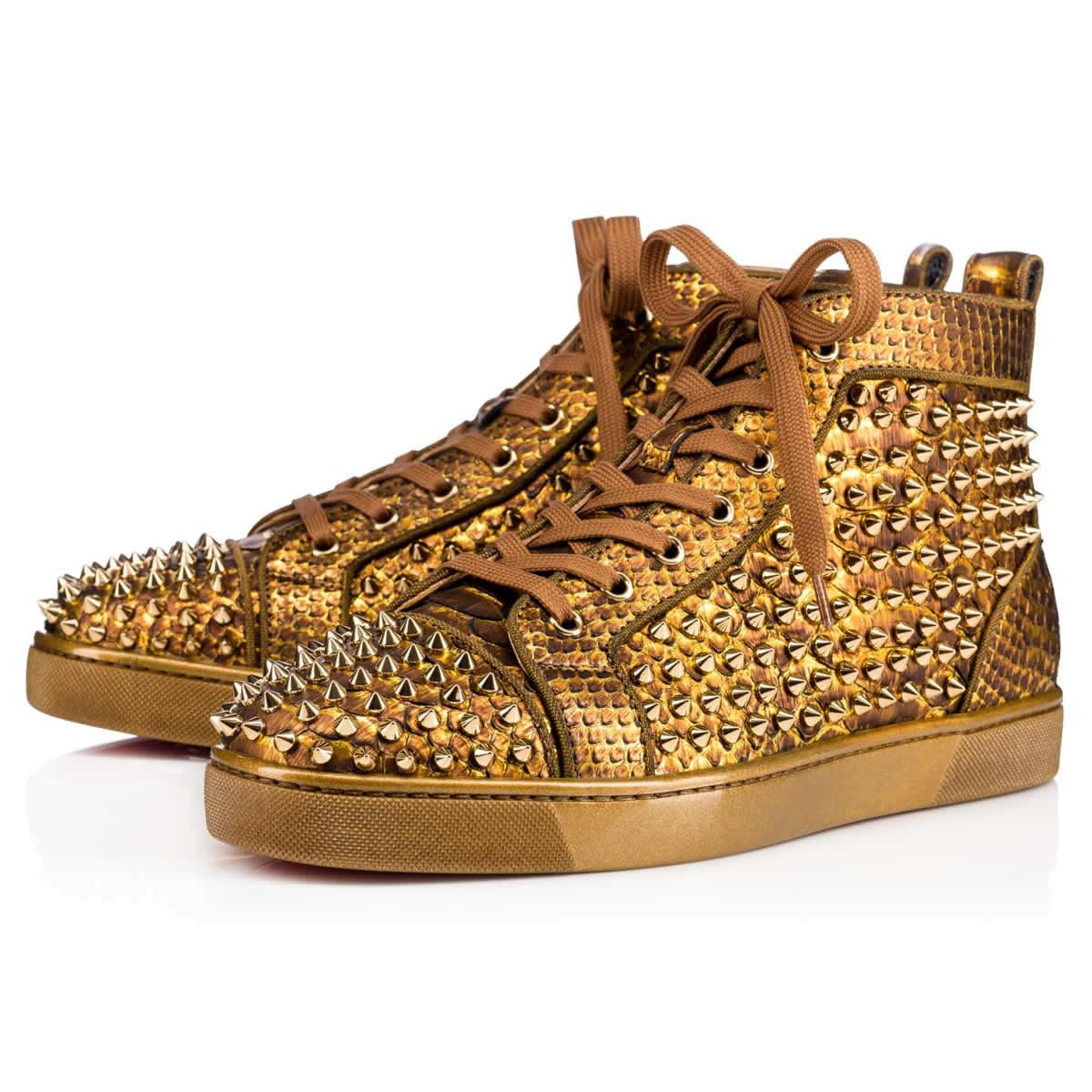 89da778f86df Christian Louboutin Louis Spikes Orlato Flat Antic Gold Python Cuirasse -  Men Shoes -