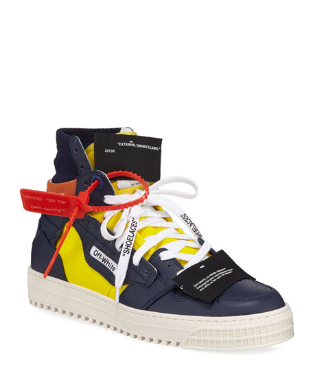 Off-White Men's 3.0 Exclusive Leather High-Top Sneakers In Yellow
