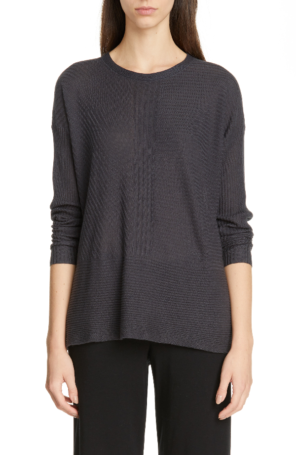 94c174f1882 Eileen Fisher Petite Jewel-Neck Long-Sleeve Silk Cashmere Sweater In  Graphite