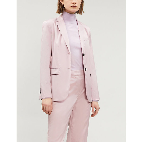d523ba9f9a Theory Single-Breasted Cotton Blazer In Pink Lilac | ModeSens