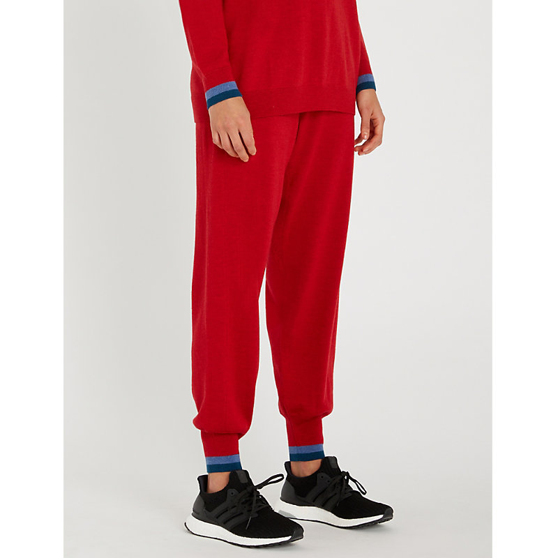 abf26f39 Lndr Chalet Contrast-Cuff High-Rise Relaxed Wool Jogging Bottoms In Red