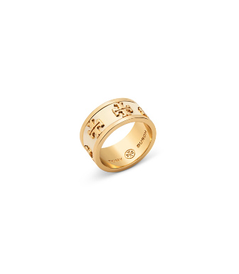Tory Burch Enameled Raised-logo Ring In New Ivory / Tory Gold