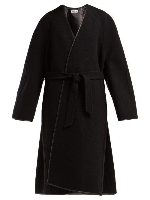 Balenciaga Belted Wool Cocoon Coat In Black