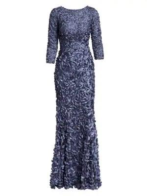 Theia Women's Petal Boat-neck Gown In Slate