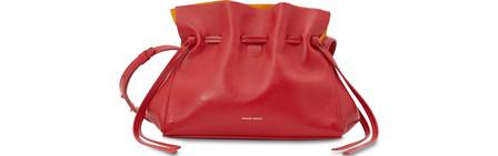 Mansur Gavriel Mini Leather Protea Drawstring Bag In Flamma-Warmyellow
