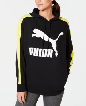 Puma Classic Logo T7 Hoodie In Cotton Black/Yellow