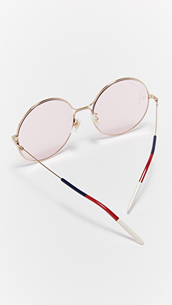 Gucci 80's Inspired Round Shape Sunglasses In Gold/pink