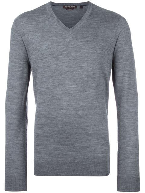 Michael Kors V-neck Jumper In Grey