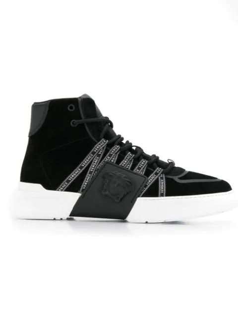 Versace Men's Shoes High Top Suede Trainers Sneakers In Black