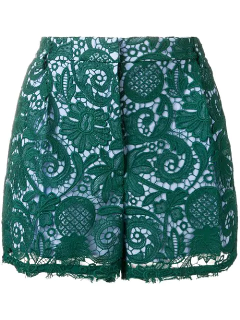 N°21 Paisley Embroidered Shorts In Green