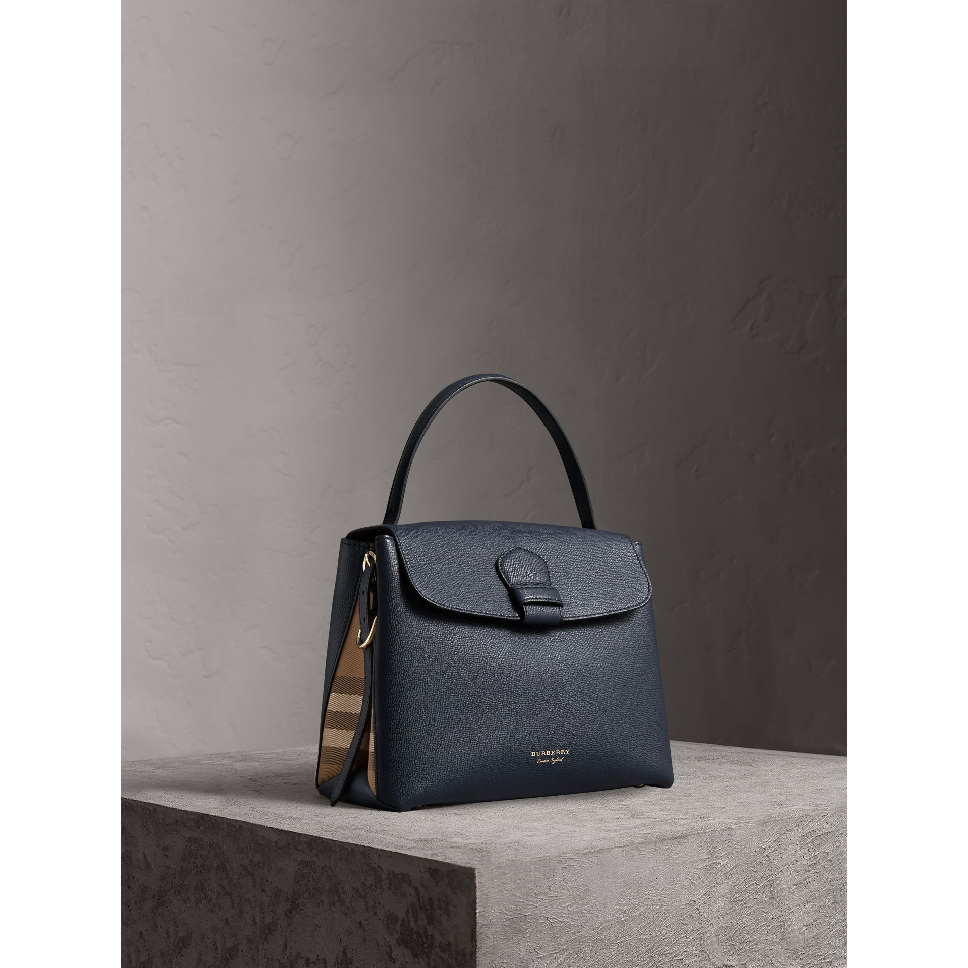 a56003b6ccea Burberry Medium Grainy Leather And House Check Tote Bag In Blue ...