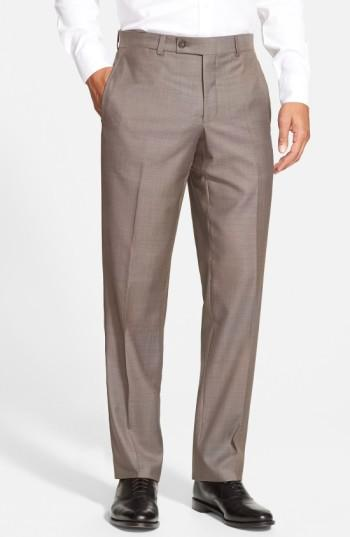 Ted Baker Jefferson Flat Front Wool Dress Pants In Taupe