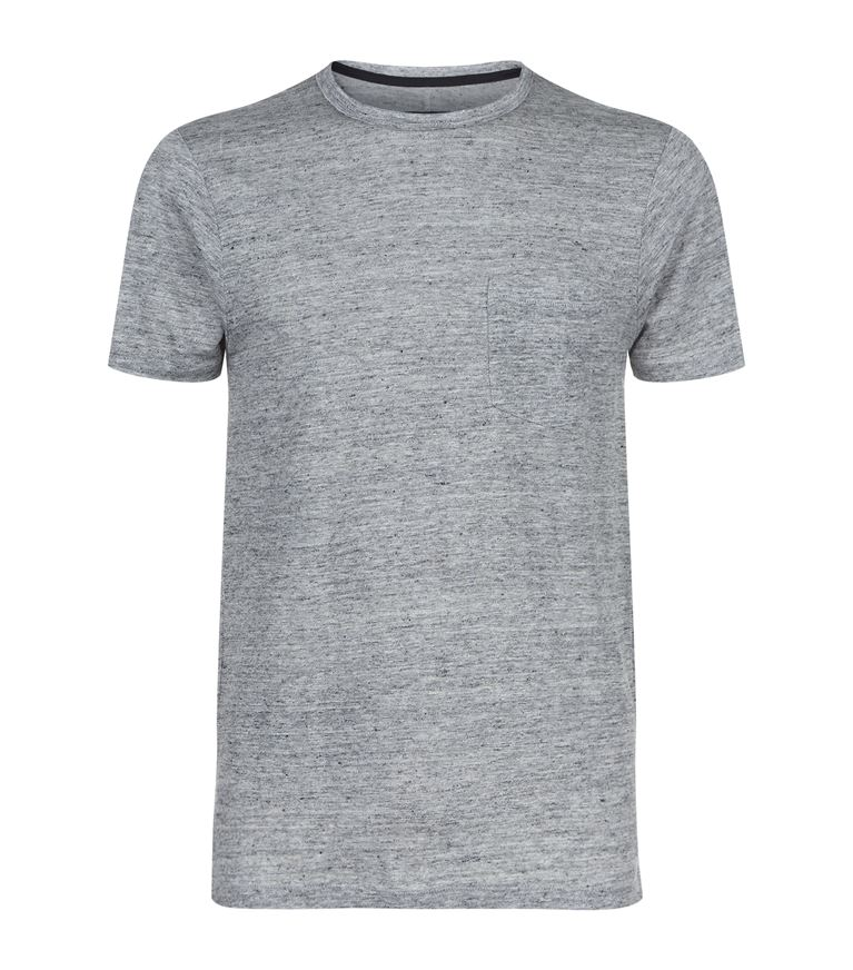 Rag & Bone Owen Heather Linen Pocket T-shirt, Light Gray In Grey