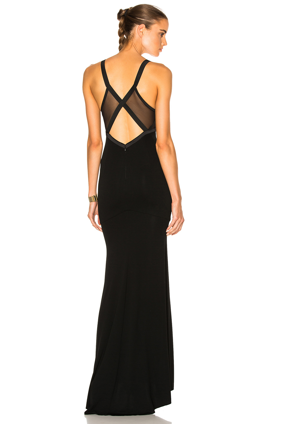 Alexandre Vauthier Stretch Jersey Gown In Black