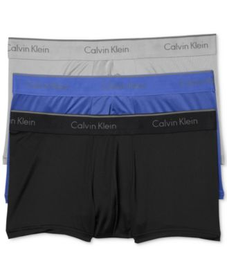 Calvin Klein Microfiber Stretch Low Rise Trunks - Pack Of 3 In Bl/cobalt/grey