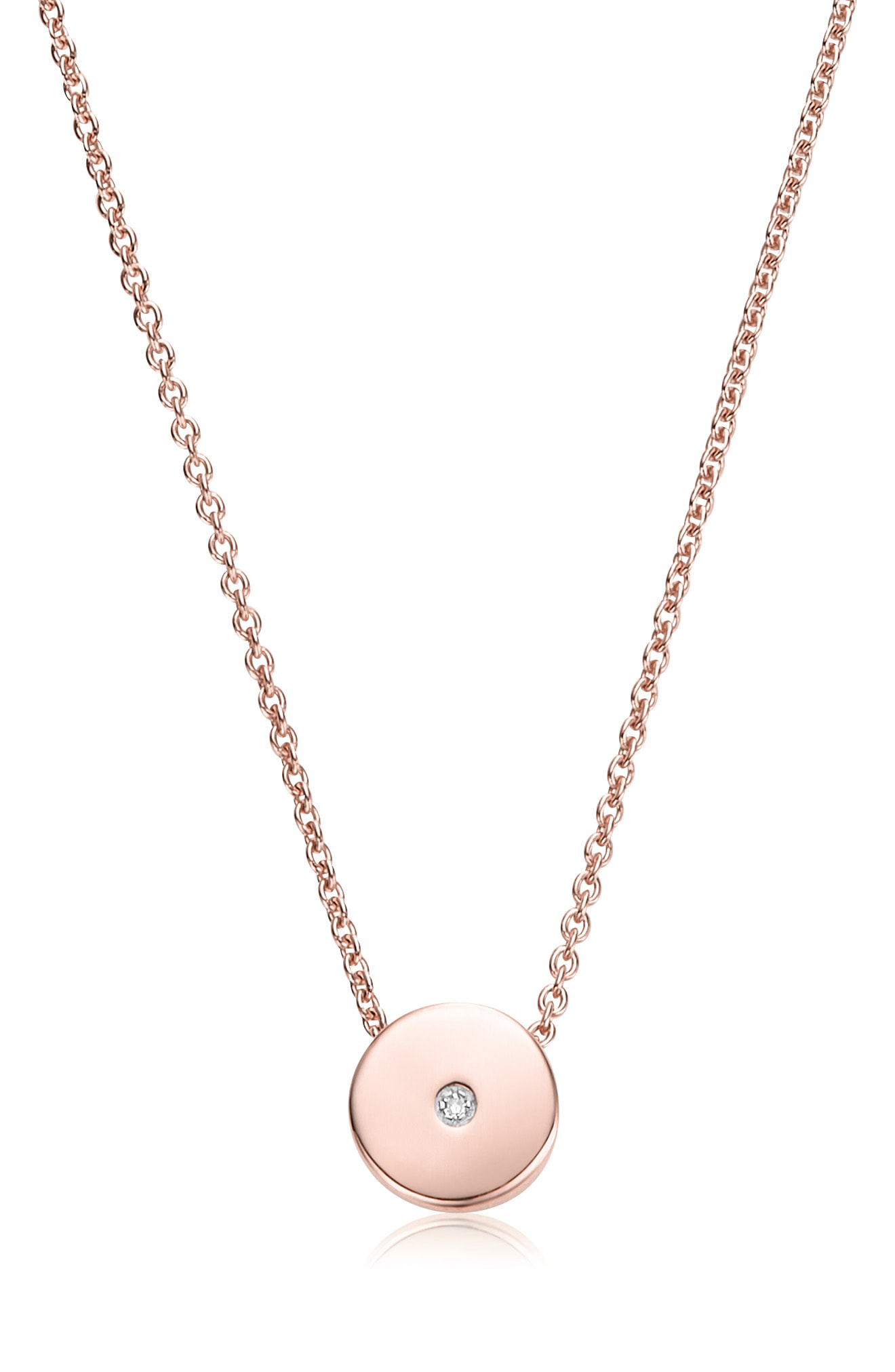 ee7c781cb82432 Monica Vinader Linear Solo Diamond Pendant Necklace In Rose Gold/ Diamond