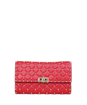 Valentino 'rockstud Spike' Red Leather Bag In Camelia