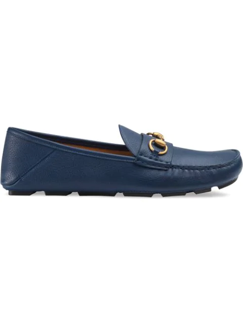 Gucci Leather Driver With Horsebit In Blue
