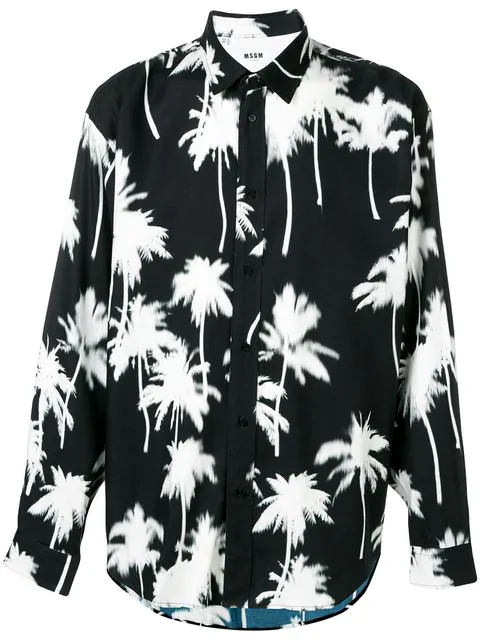Msgm Palm Tree Print Shirt In Black