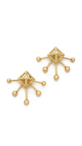 Rebecca Minkoff Pyramid Fan Stud And Jacket Earrings In Gold