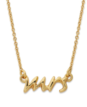 Kate Spade Necklace, 12k Gold-plated Say Yes Mrs. Pendant Necklace
