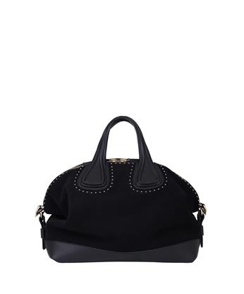 Givenchy Nightingale Medium Studded Suede Satchel In Black